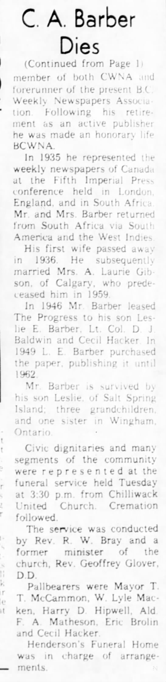 Charles Death Article con'd on Page 12.  The Chilliwack Progress.  16 Dec 1964 - C A. Barber Dies (Continued from Page 1 member...