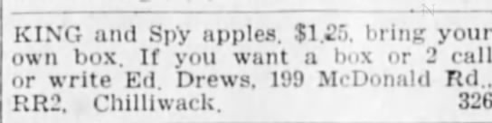 - KING and Spy apples. $1.5. bring your own box....