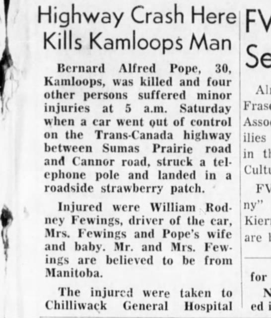 Chilliwack Progress 21 July 1954 - Highway Crash Here Kills Kamloops Man Bernard...