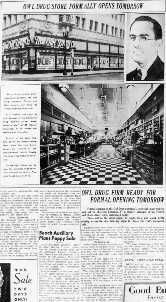 Owl Drug opens in Santa Ana with a 12 man soda fountain department 1937