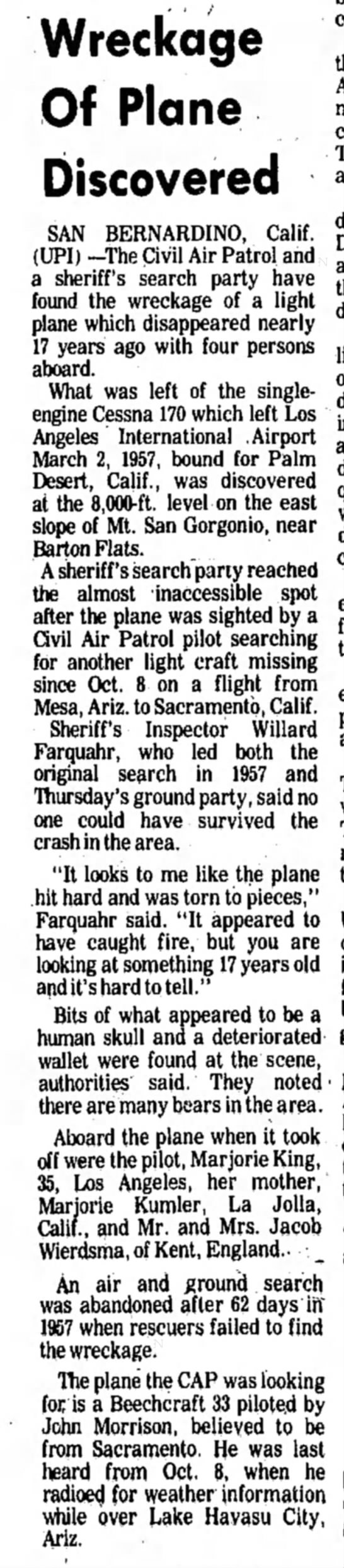 - Wreckage Of Plane Discovered SAN BERNARDINO,...