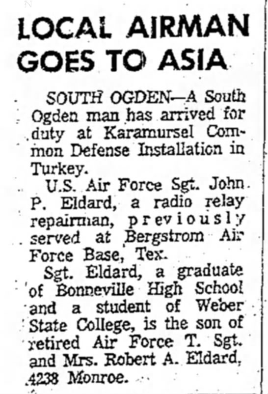 John Eldard US Air Force Turkey - LOCAL AIRMAN GOES TO ASIA . SOUTH OGDEN—A South...