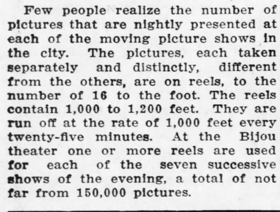 Number of reels used in the theaters. - Few people realize the number of pictures that...