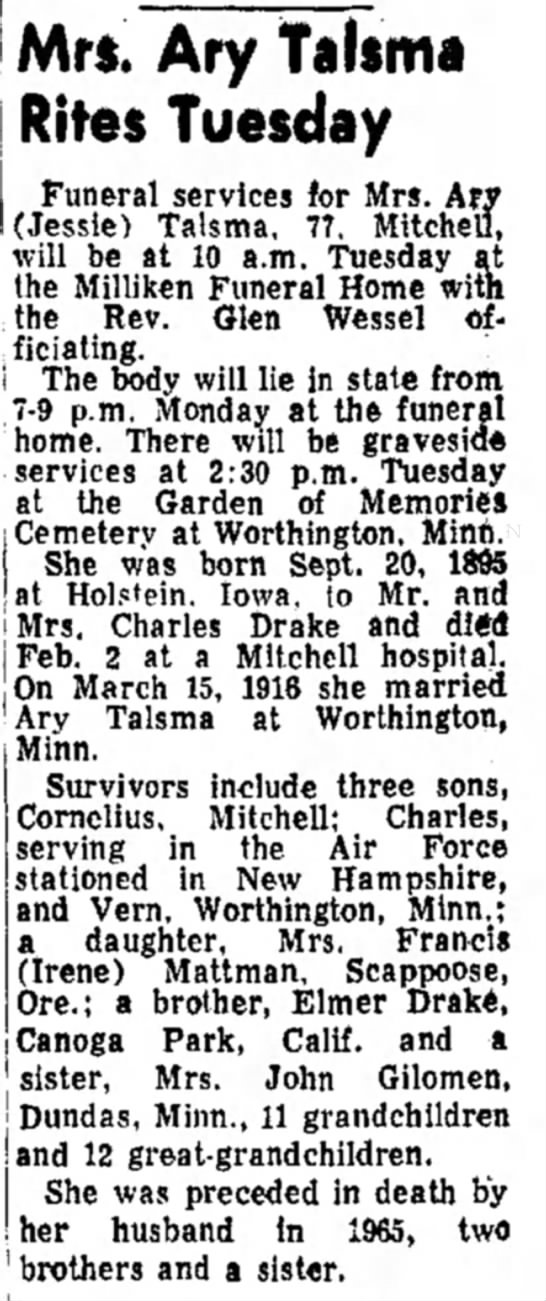 5 Feb 1973 - The Daily Republic (Mitchell, South Dakota) - Mr*. Ary Talsma Rites Tuesday Funeral services...
