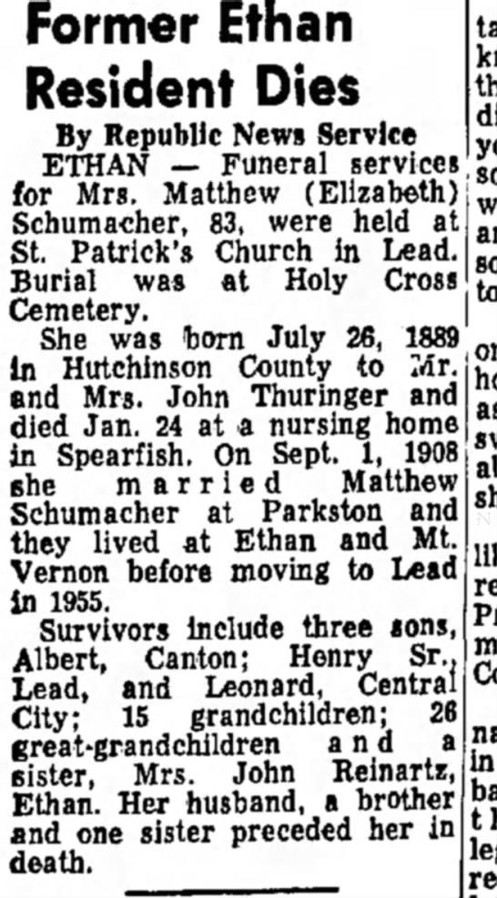 ELIZABETH SCHUMACHER - Former Ethan Resident Dies By Republic News...