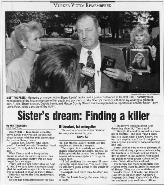 "Sherry Lewis Aug 4, 1995 1 of 2 Decatur Herald and Review - Murder Victim Remembered ' , It , r ""-i-, - 4 -..."