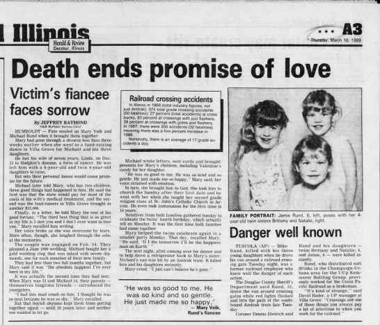Michael Rund and Mary Volk love  story ends tragically..... - Wmm v Thursday, March 16, 1989 Herald & Review...