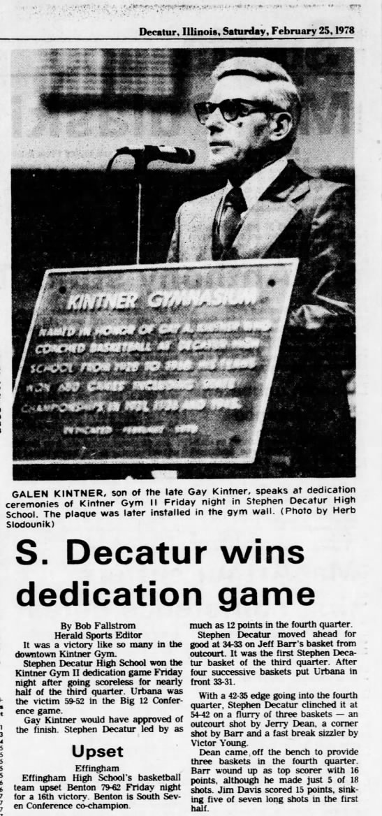 Galen Kintner, son of the late Gay Kintner, speaks at dedication ceremonies - Decatur, Illinois, Saturday, February 25, 1978...