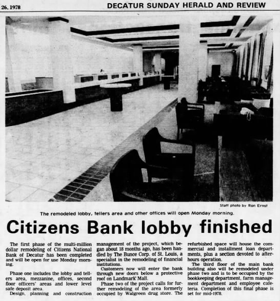 Citizens Bank - 26, 1978 DECATUR SUNDAY HERALD AND REVIEW...