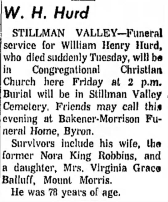 William Hurd obit father of Virginia Hurd Balluff