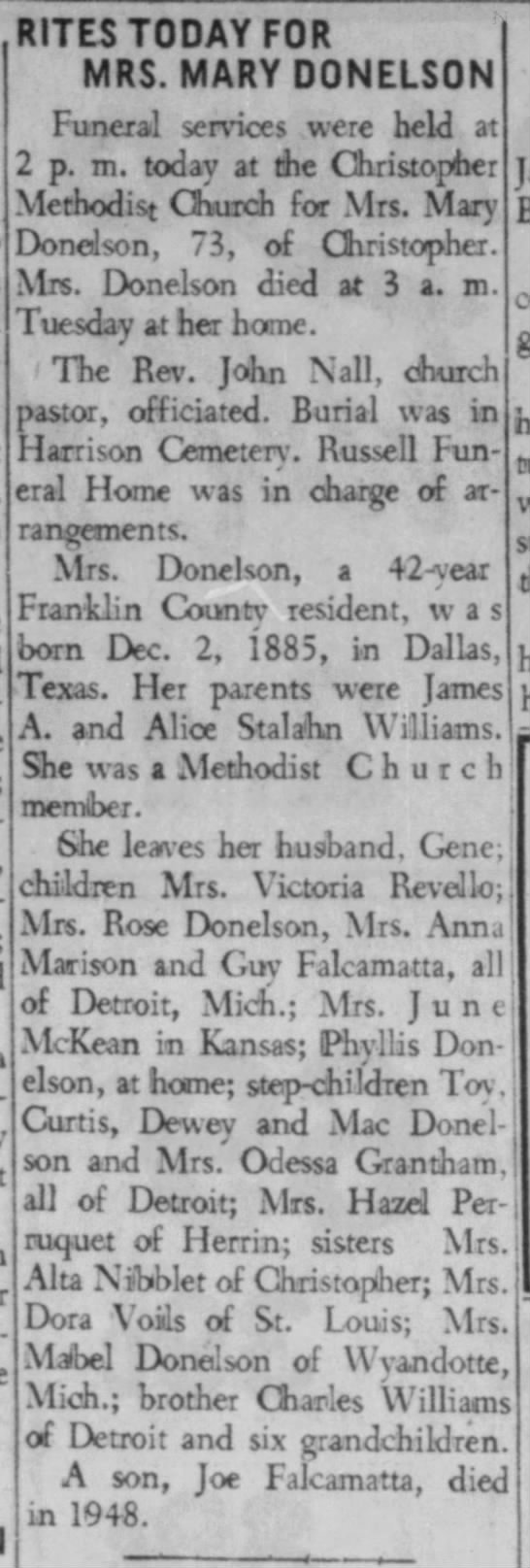 Mary Donelson 1959 obit - RITES TODAY FOR MRS. MARY DONELSON Funeral...