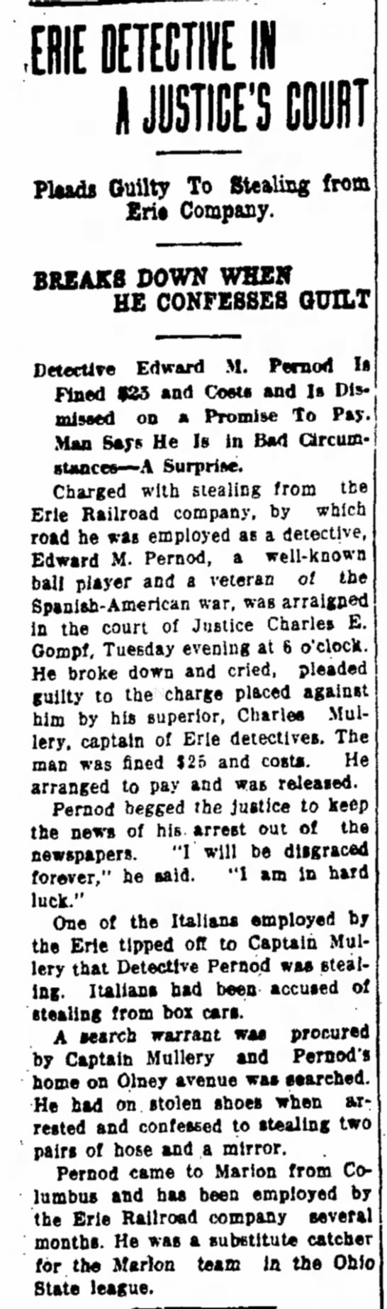 Edward M Pernod Marion OH Weekly Star 7 Sep 1912 Steals from Railroad