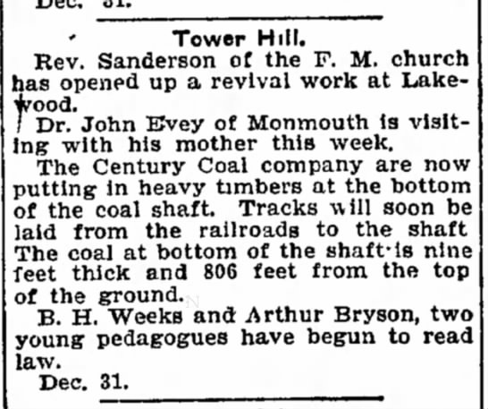 EVEY, JOHN DR. - his on with person Tower Hill. Rev. Sanderson...