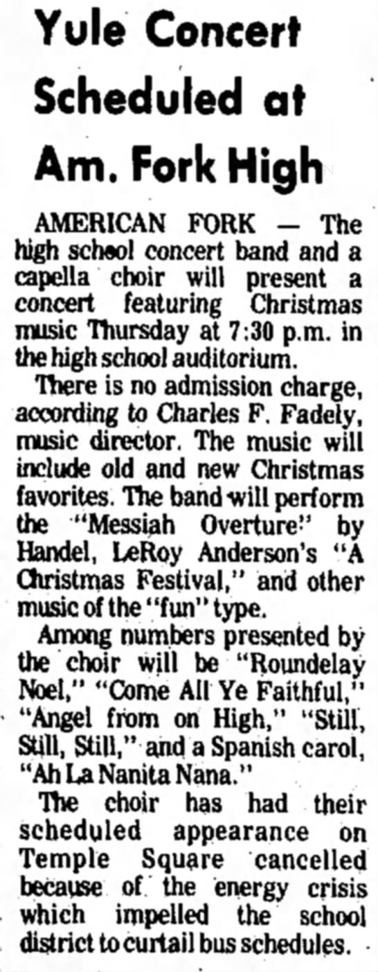 Daily Herald 12/11/73 - Yule Concert Scheduled at Am. Fork High...