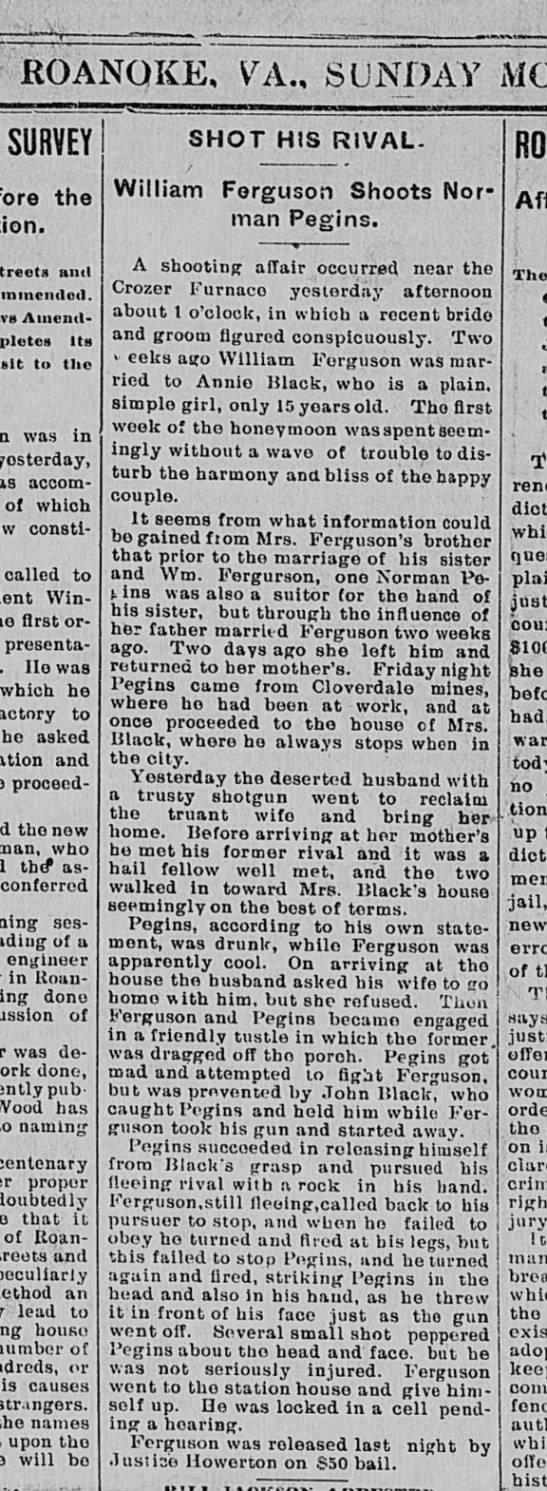 William Ferguson shoots Norman Pegins Roanoke Times date Jan 17 1892