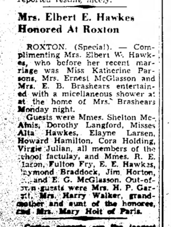 19 Apr 1939 Paris News - Mrs. Elherl E. Hawkes ! Honored At Roxlon...