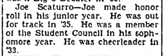 Scaturro, Joseph Tufanio news  LLCall 25 May 1935 - the it trust Joe Scaturro-- Joe made honor roll...