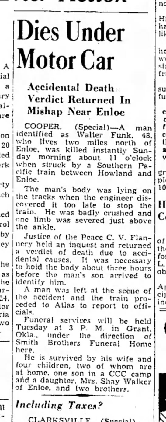 Walter C Funk 5/1/1939 Paris - A a on 20 Dies Under Motor Car Accidental Death...