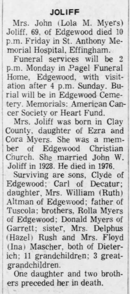 The Decatur Herald (Decatur, Illinois) 22 May 1977 - JOLIFF Mrs. John (Lola M. Myers) Joliff. 69. of...