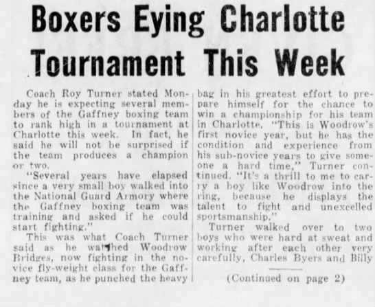 Feb 11,1958 Gaffney boxers. - Boxers Eying Charlotte Tournament This Week...