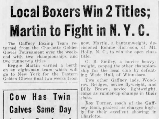 1958 Charlotte Golden Gloves Gaffney Boxers cont. - Local Boxers artin to Fight in N.Y.C. The...