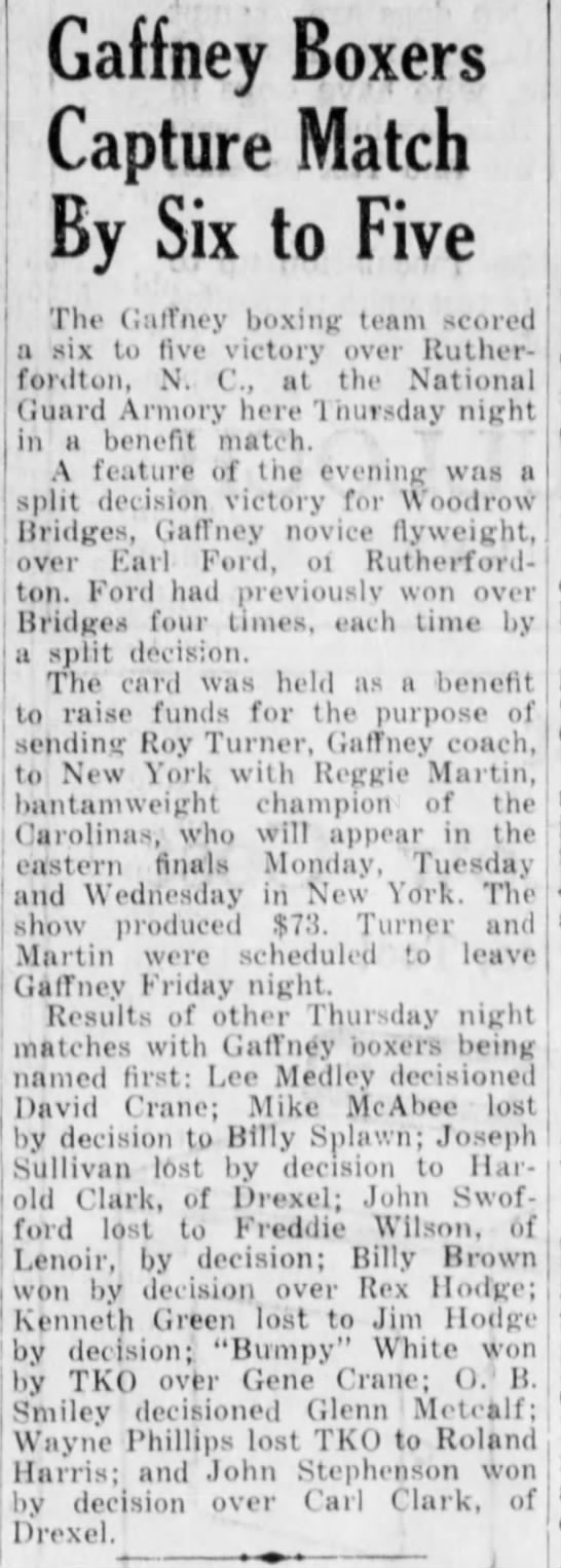 Mar. 1,1958 Gaffney boxers win. - Gaffney Boxers Capture Match By Six to Five The...