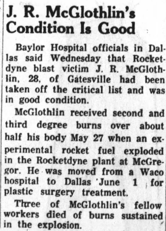 JRM condition good - J. R. McGIothlin's Condition Is Good Baylor...