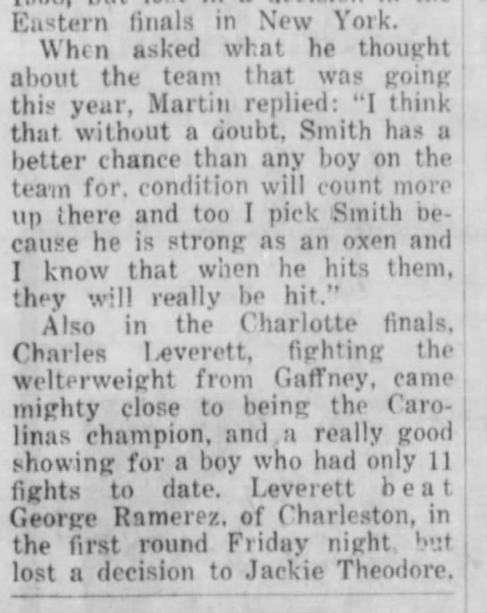 Woodrow Bridges and Marvin Smith 1960 cont. - Eastern finals in New York. When asked whnt he...