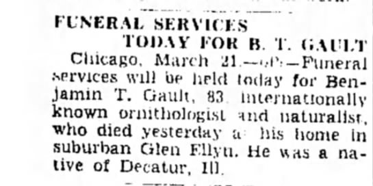 Benjamin Gault Obit / Freeport Journal Standard March 21, 1942 - FUNERAL SERVICES TODAY I OR R. I. (JAn.T...