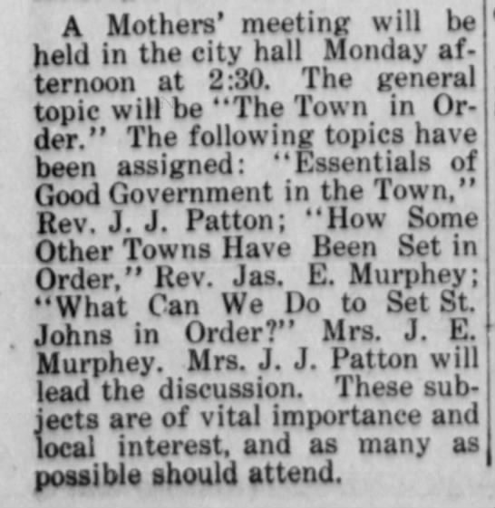 A Mother's Meeting - A Mothers' meeting will be held in the city...