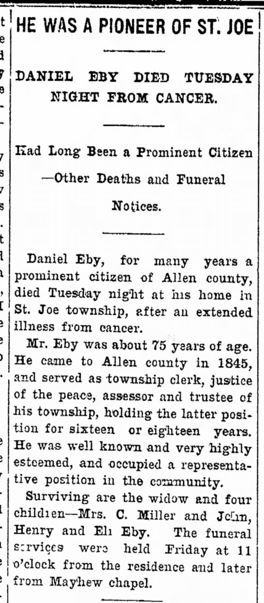 1901 Nov 27 Daniel Eby obituary - not time land cherry is flowers. hand meet a I...