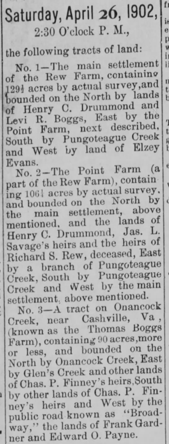 Chas P Finney land sale - Saturday, April 26,1902, 2:30 O'clock P. M.,...