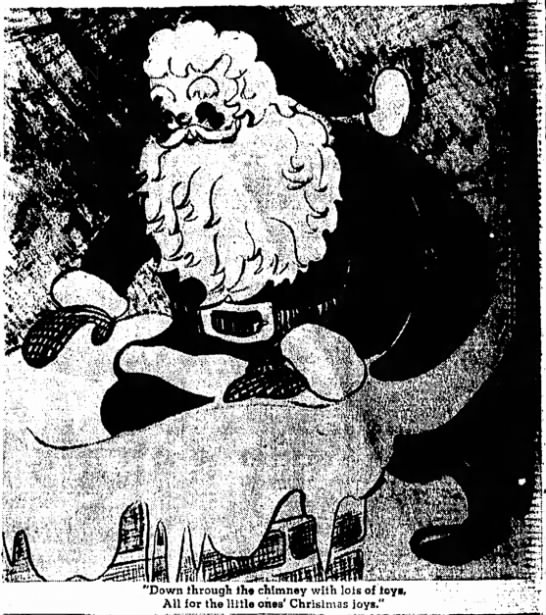 "Santa into Chimney 1950 - ""Down through lh« chimney with lots of toys...."