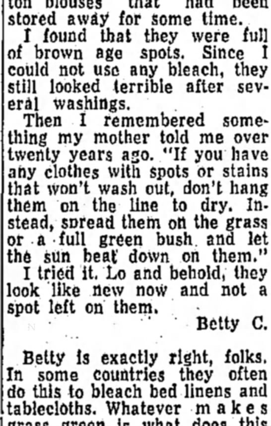 heloise article - cotton blouses that had been stored away for...