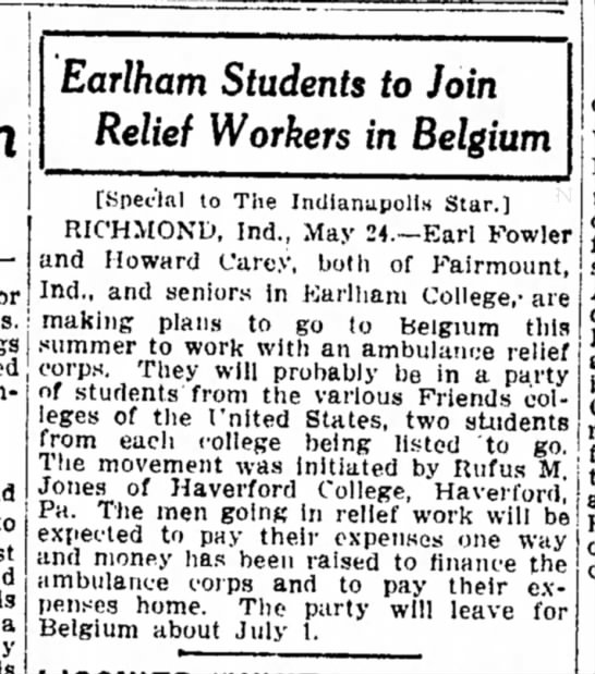 HLC 1915 - Earlham Students to Join Relief Workers in...
