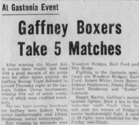 Jan. 12, 1957 Gaffney boxers win at Gastonia. - At Gastonia Event Gaffney Take 5 After winning...