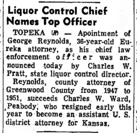 Garden City Telegram (March 10, 1955) - Liquor Control Chief Names Top Officer TOPEKA...