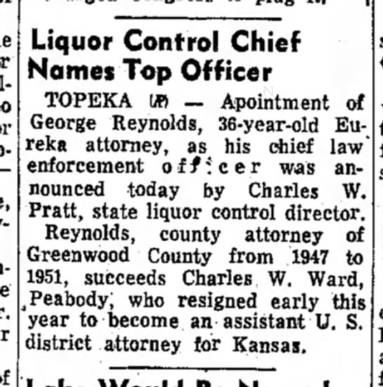 Garden City Telegram, March 10, 1955 - Liquor Control Chief Names Top Officer TOPEKA...