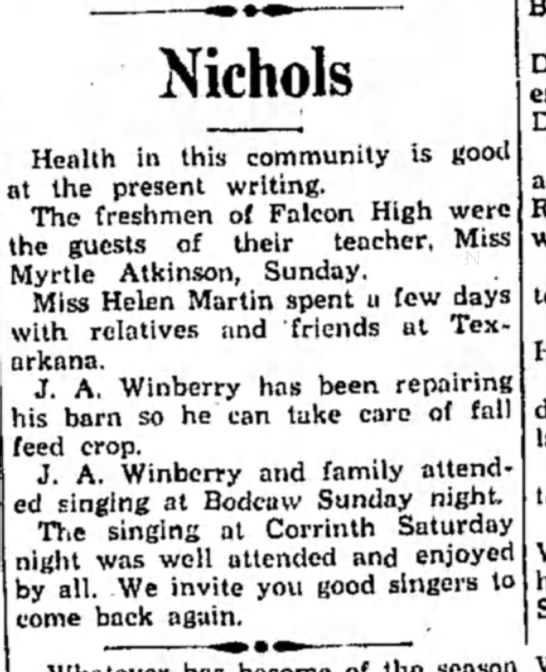 Winberry HS11 Aug 1931 p2 - Nichols Health in this community is good it the...