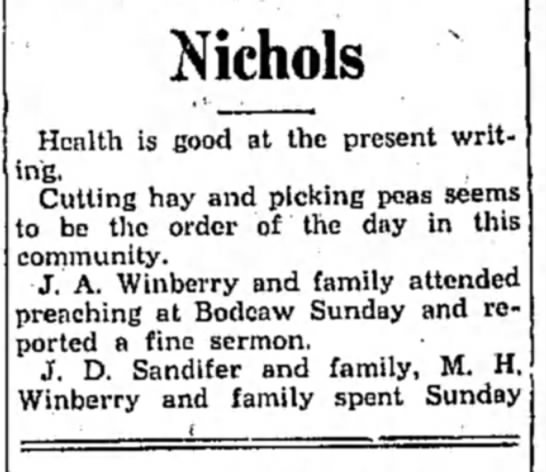 Winberry HS 20 Aug 1931 p5 - Nichols Health is fiood at the present writing....
