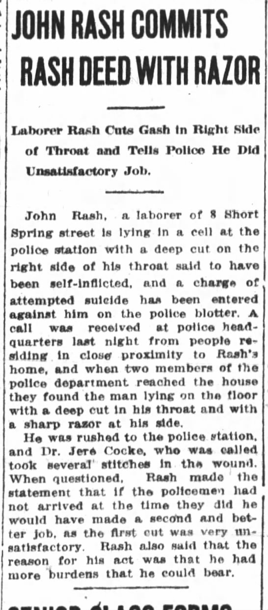 """Self inflicted Throat cutting"" - JOHN RASH COMMITS RASH DEED WITH RAZOR Laborer..."