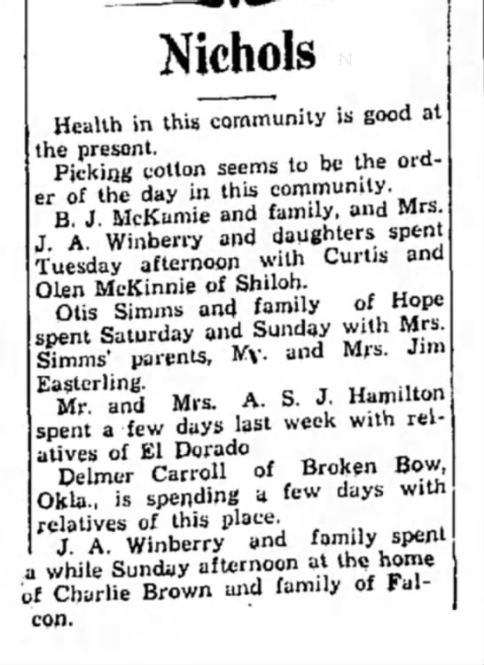 Winberry HS 17 Sept 1931 p2 - Nichols Health in this community is good at the...