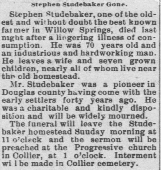 6/16/1894 Lawrence Daily Gazette - Stephen Stadebaker Gone. Stephen Studebaker,...