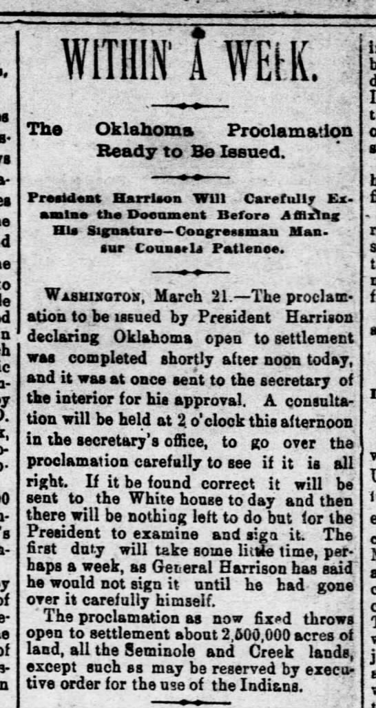 Oklahoma territory soon to be opened to settlement - WITHIN' TWErK. The Oklahoma Proclamation Ready...