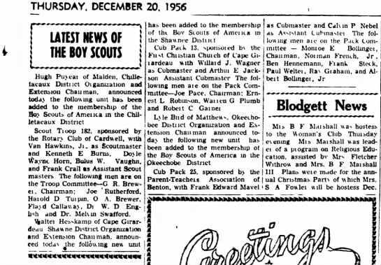 Calvin Nebel, Assistant Cub Master, 1956 - THURSDAY, DECEMBER 20. 1956 t LATEST NEWS OF...
