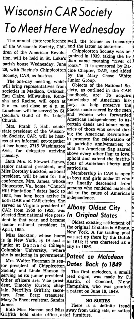 Racine Journal Times 23 June 1957 - Wisconsin CAR Society To Meet Here Wednesday...