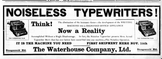 Noiseless Typewriter available ad 1911