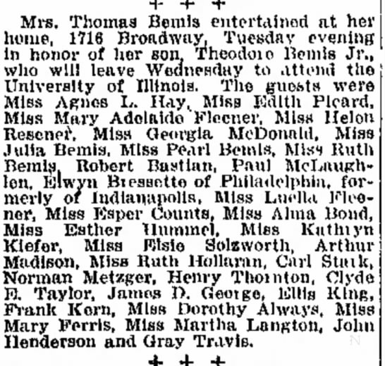 new clip of article on Thomas Bemis, Jr. going away to college party, Sept. 9, 1915