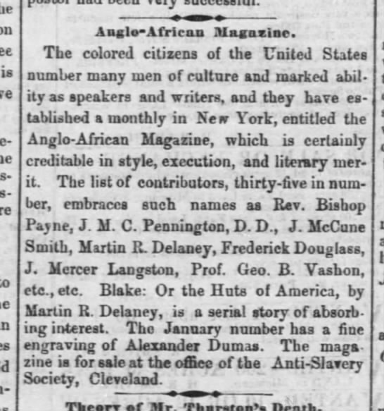Martin R Delaney 3/1859 - is Anglo-African Magazine. The colored citizens...