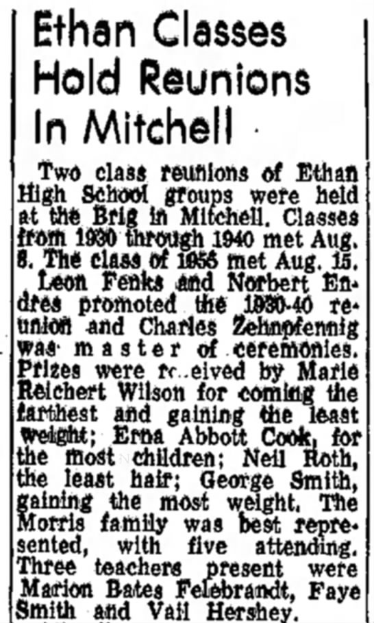 1930 - 1940  1 - Ethan Classes Hold Reunions In Mitchell two...
